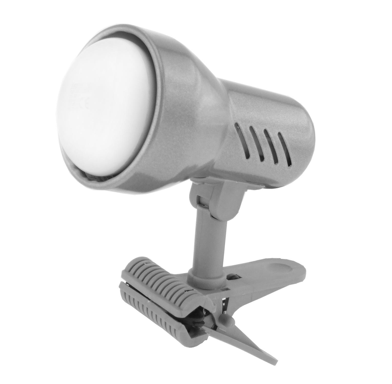Lampička s klipem E14 malá stříbrná