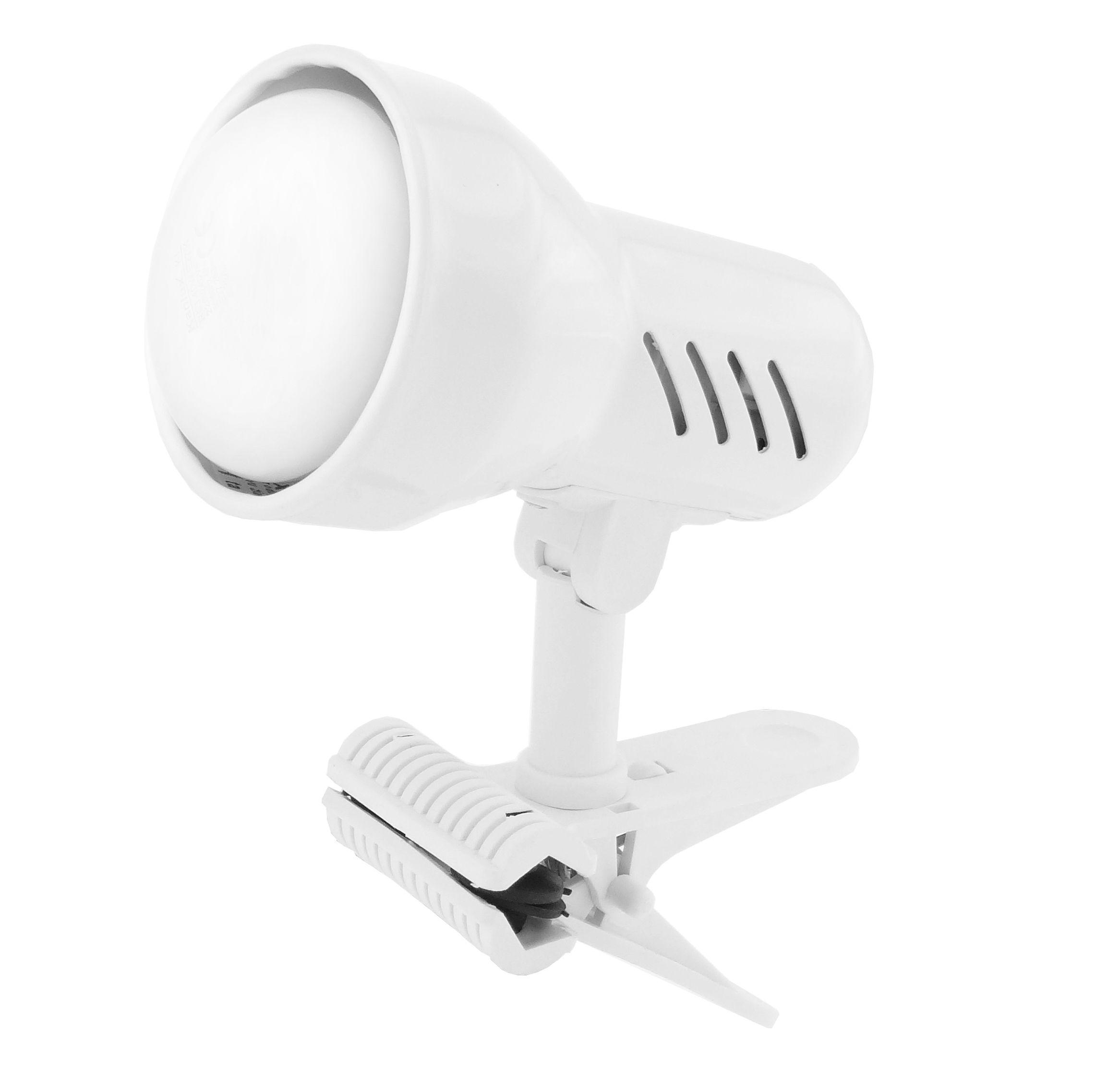 Lampička s klipem E27 velká bílá