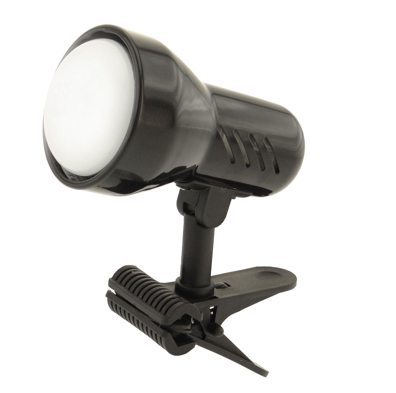 Lampička s klipem E14 velká černá